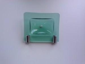 Saboneteira de vidro verde